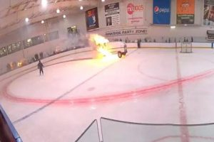 Ice Resurfacer Catches Fire in New York