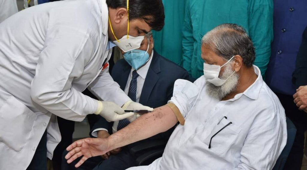 Haryana Health Minister Anil Vij tested Covid positive days after volunteering for vaccine trial.